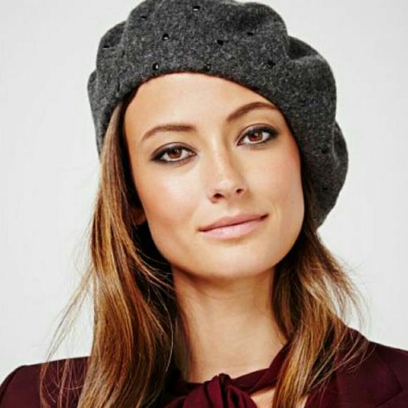 dfb43829687 Calvin Klein Studded Wool Blend Beret Hat.